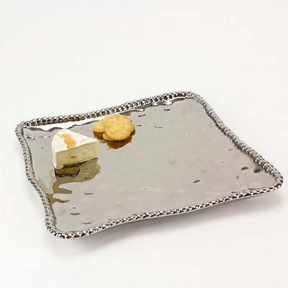 Silver square platter with Silver beading
