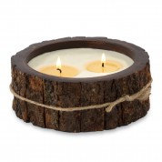 Tree bark wrapped candle - double wick