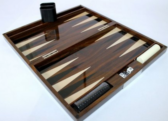 Brown Wood Laquer Backgammon