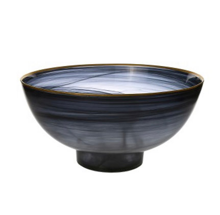 Black Alabaster Bowl w Gold Rim
