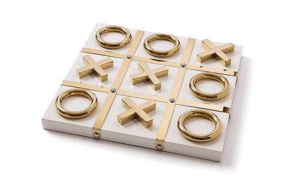 Ivory and Gold Tic Tac Toe