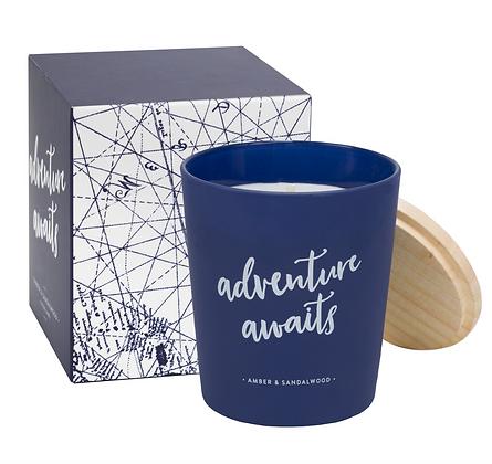 Adventure awaits candle - amber/ sandlewood
