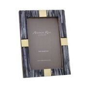 Ribbed Gray Stripe and Gold Frame 4 x 6