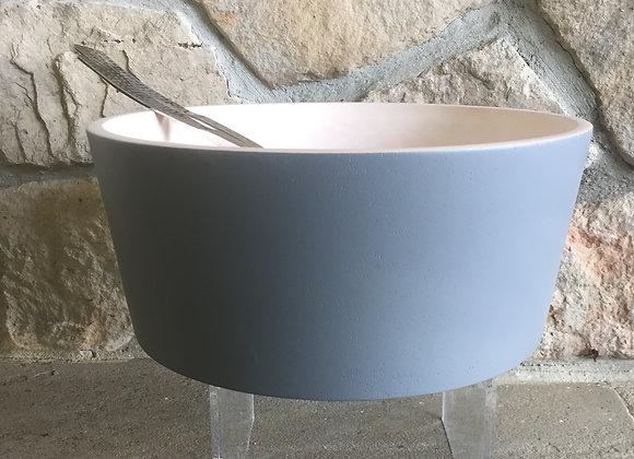 Gray wooden salad bowl
