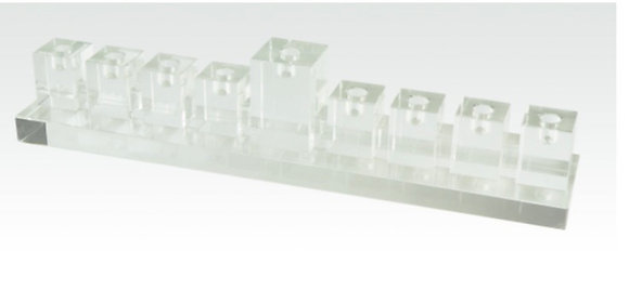 Crystal Clear Glass Menorah