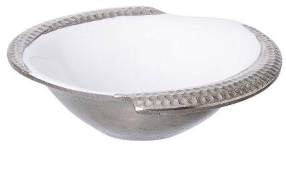 White Enamel Hammer Serving Bowl