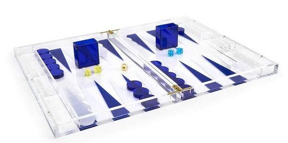 Lucite Backgammon - blue and white