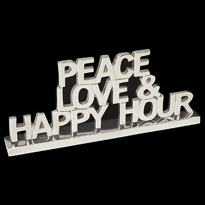 Peace Love & Happy Hour sculpture