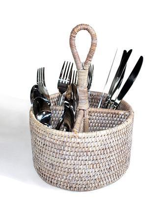 Rattan Round Cutlery/ Utensil Holder