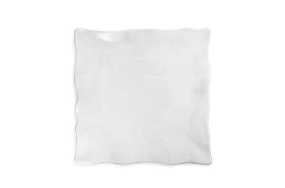 Ruffle White Melamine Large Square Platter
