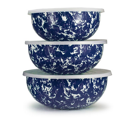 Enameled mixing bowls - set of 3 w/ lids
