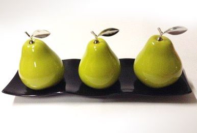 3 Cermaic Pears w/Silver Stems on White or Black Ceramic Tray