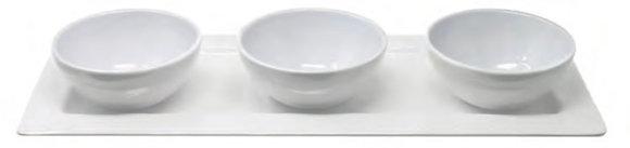 White Melamine Rectangle Platter with 3 Bowls