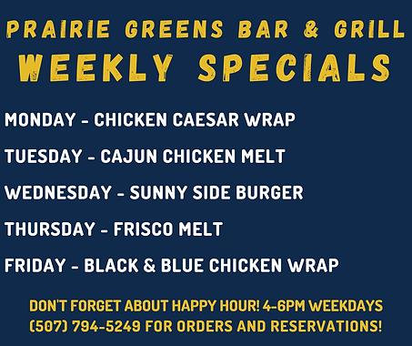 Prairie Greens Bar & Grill at Sleepy Eye Golf Club weekly specials