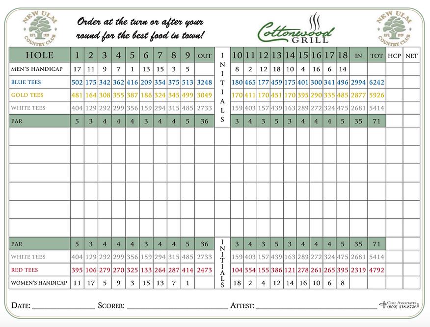 New Ulm Country Club Scorecard