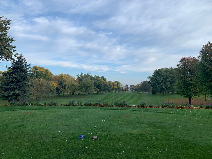 Hole 1 tee box at Sleepy Eye Golf Club with fall colors