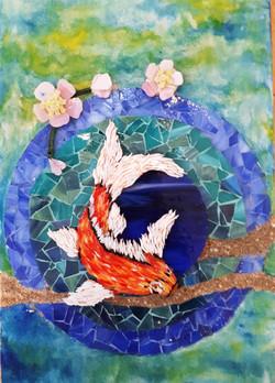 Tableau mosaïque Carpe japonaise