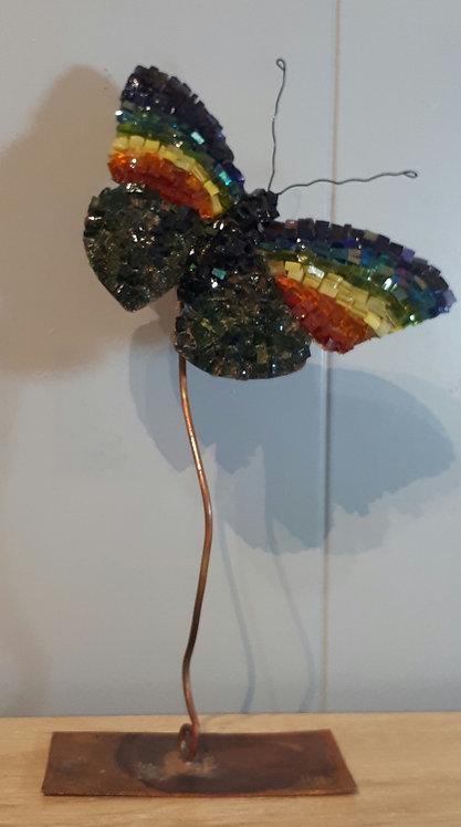 Papillon en cuivre et mosaïque N3