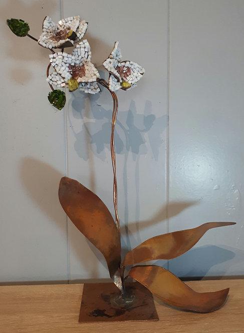 Orchidée en cuivre et mosaïque N2