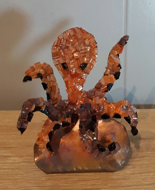 Pieuvre en cuivre et mosaïque N1