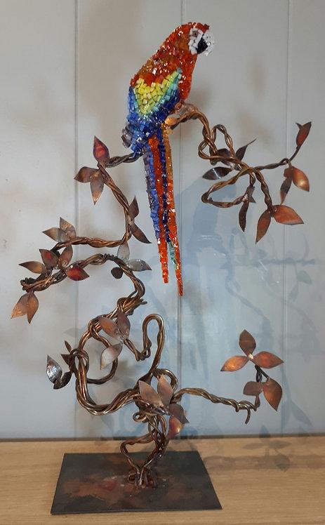 Perroquet en cuivre et mosaïque N1