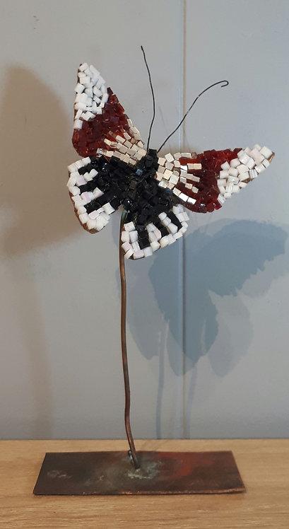 Papillon en cuivre et mosaïque N4