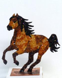 Cheval en cuivre et mosaïque n°3