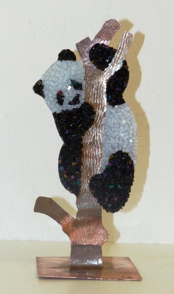 Panda en cuivre et mosaïque