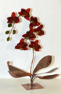 Orchidées en cuivre et mosaïque