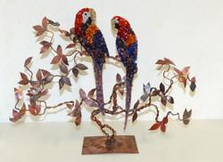 Perroquets en cuivre et mosaïque