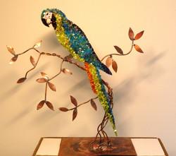 Perroquet en cuivre et mosaïque