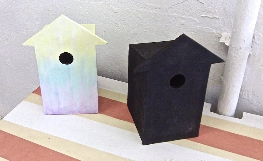 Margie 8-22-13 First coats of texture and underpainting for the birdhouses