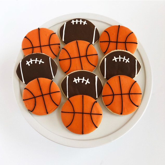 Basketball and Football Cookies
