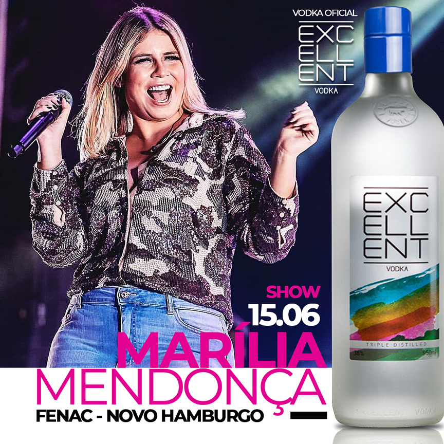 Ação em show de Marília Mendonça como vodca oficial.