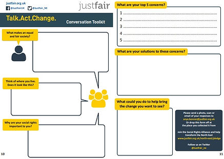 A picture of a page from the Talk.Act.Change toolkit (text too small to read)