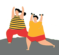 An illustration of two overweight people doing exercise