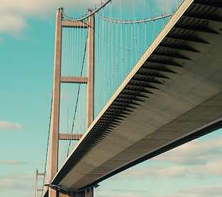 The humber bridge on a blue-sky backdrop