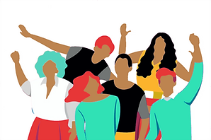 An illustration of a group of people with their hands int he air looking happy