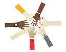 An illustration of 7 arms outstretched in a circle with the hands meeting in the middle
