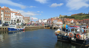 Whitby harbour, full of boats
