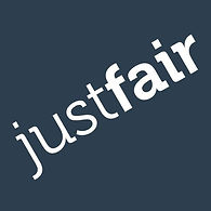 Justfair's logo. The words 'Just Fair' sit diagonally in white on a navy blue background