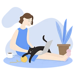 Illustration of a woman sitting on the floor trying to type on her laptop, but a cat is lying on top of the keyboard