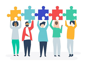 An illustraion of 5 people standing in a row holding up jigsaw pieces above their heads