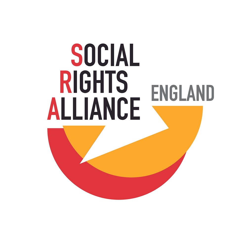 Social Rights Alliance England logo. The text 'Social Rights Alliance England' sit above two overlapping semi-circles.