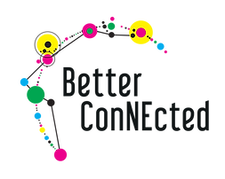 The words 'Better Connected' sit under an arch of coloured dots connected by lines. The 'NE' in 'Connected' are capitalised to represent the North East of England
