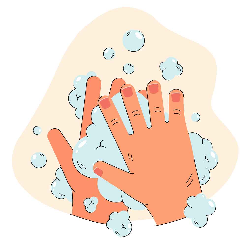 Two hands washing in bubbles