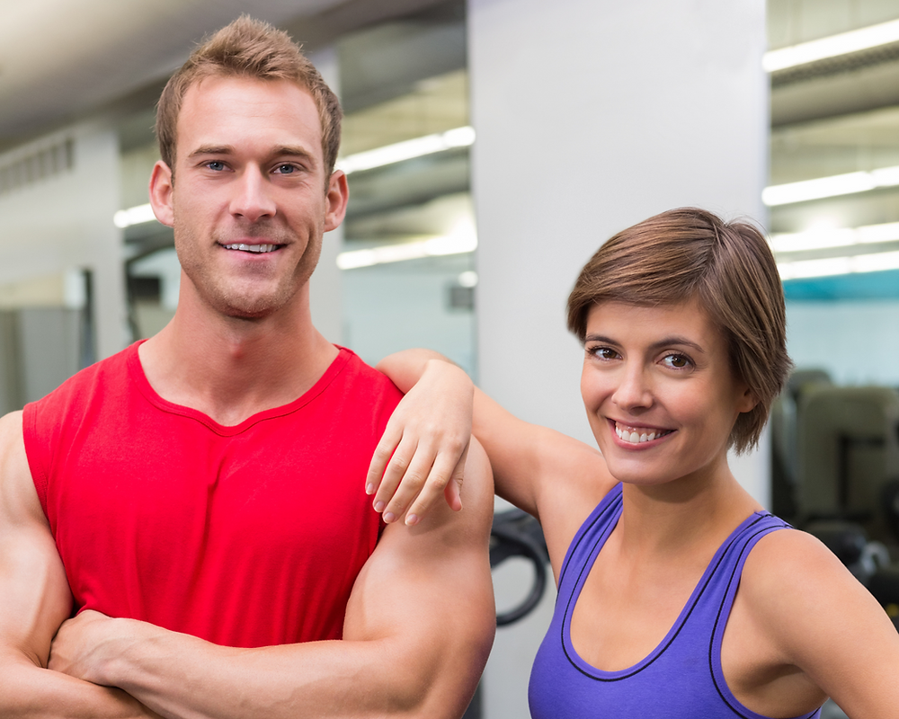 Positive training man and women, fitness after 50