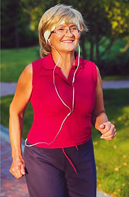 Happy women running, fitness after 50