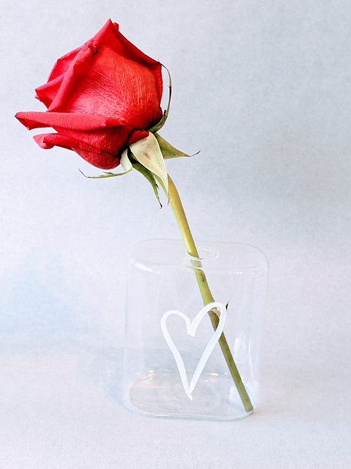Single Rose & Personalised Stem Vase