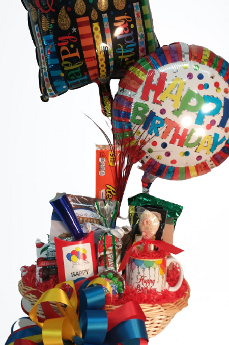 Chocolate Birthday Basket with balloons